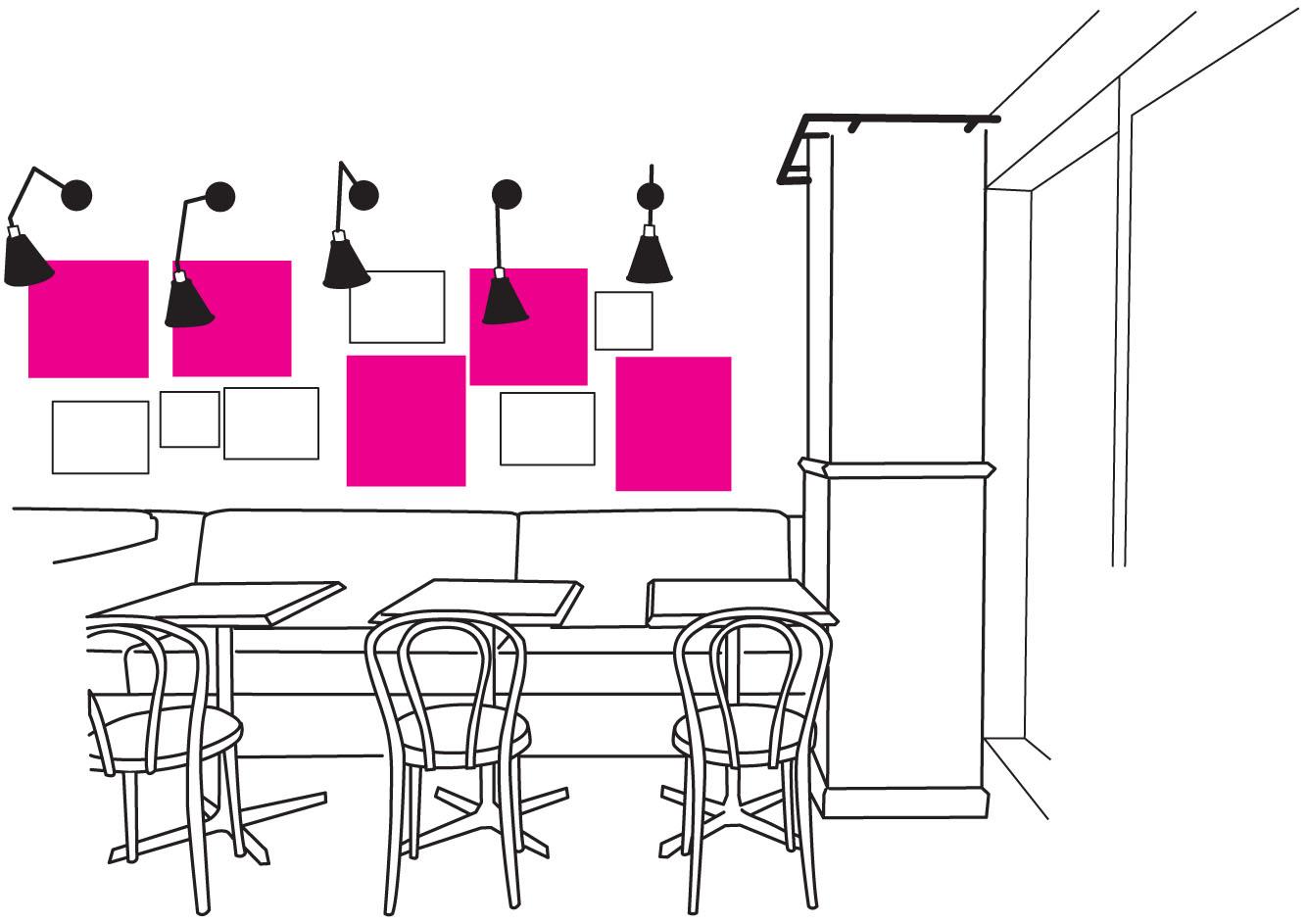 カフェレストラン - 壁際席の設置場所