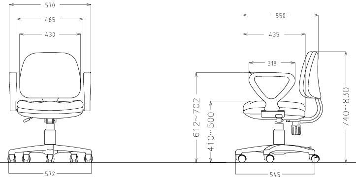 オフィスチェアFST-3Aサイズ