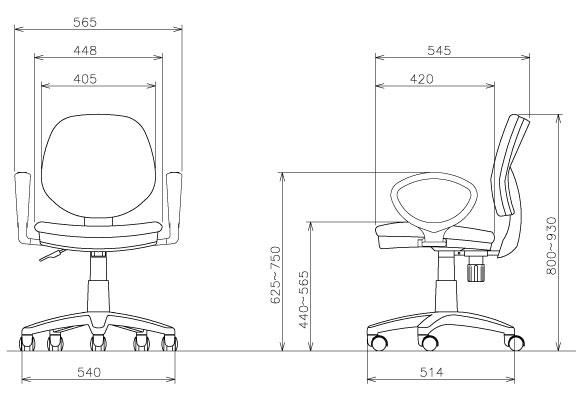 オフィスチェア FST-51A肘付き-サイズ