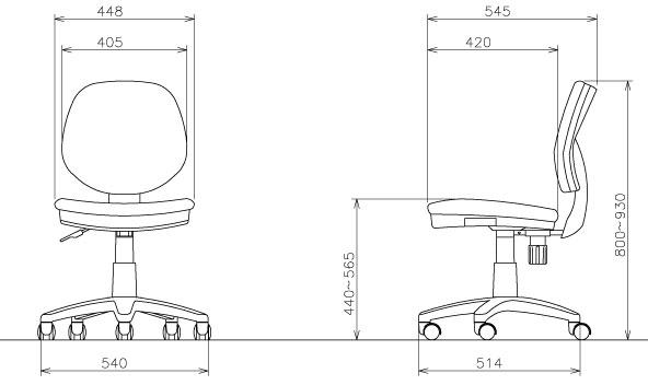 オフィスチェア FST-51-サイズ